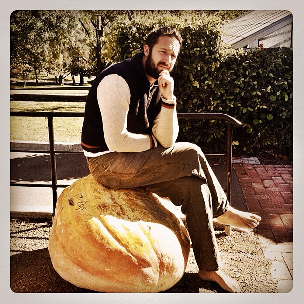 I am thinking on a giant pumpkin - your argument is invalid. #pumpkin #giant #thinker