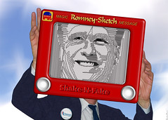Mitt Romney - Etch A Sketch - The Shake-N-Fake Candidate