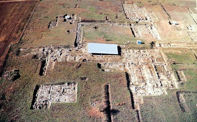 Aerial photograph of the Palace complex, Archaeological Museum, Pella