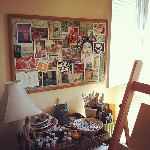 new meaning to 'paint into a corner' #artroom #cornerofmyhome #collections #creativity #inspiration