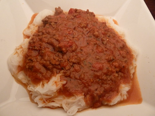 Bolognese over Rice Noodles