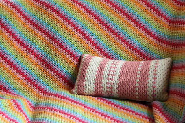 rainbow afghan + sweet dreams pillow