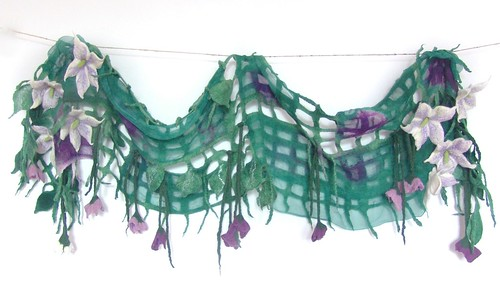 Nuno felted scarf net - purple flower, green leaves