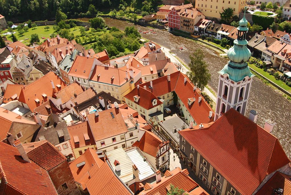 Vue depuis le chateau de Cesky Krumlov en République Tchèque - Photo de Tamas Ring