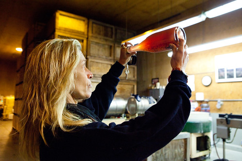 Joy showing a rosé fermenting for 7 years