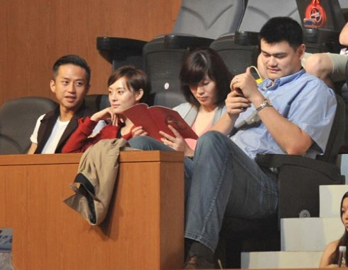 June 17th, 2012 - Yao Ming and wife Ye Li with celebrity couple Deng Chao and Sun Li