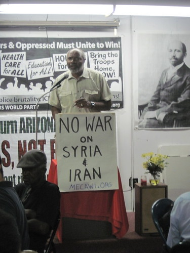 Abayomi Azikiwe, editor of Pan-African News Wire, addressing a public meeting on the U.S. imperialist war drive. The event took place on June 30, 2012. (Photo: Leona McElvene) by Pan-African News Wire File Photos