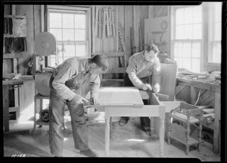 Shop of the Woodcrafters and Carvers, Gatlinburg, Tennessee. Besides making fine furniture, these two craftsmen turn out interesting souvenirs, etc, November 1933