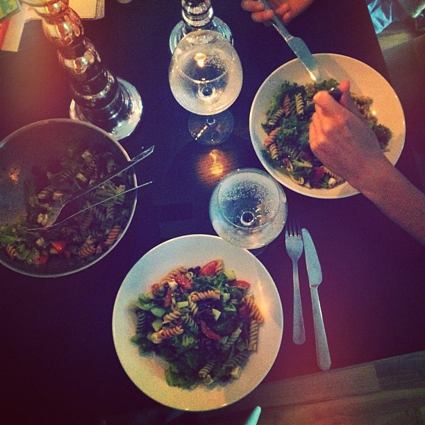 #dinner #pestosalad #homemade #salad #candlelight #veryromantic #because @taavik #eats #without #pants #xxd