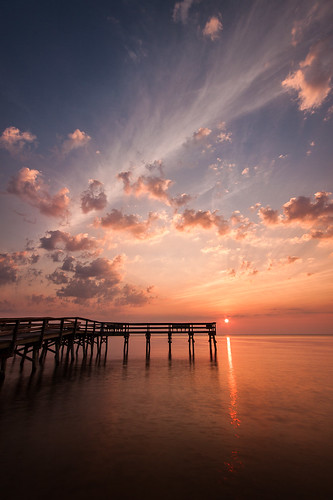 park morning sky reflection water colors silhouette clouds sunrise dawn pier maryland cpc chesapeake calvert chesapeakebay calvertcounty flagponds