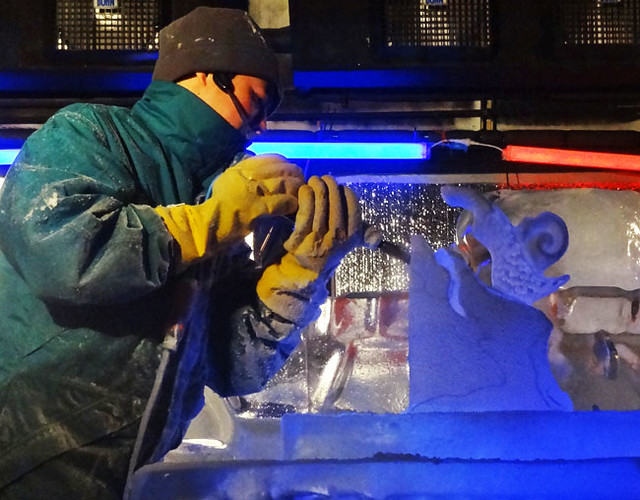 Ice carving in action