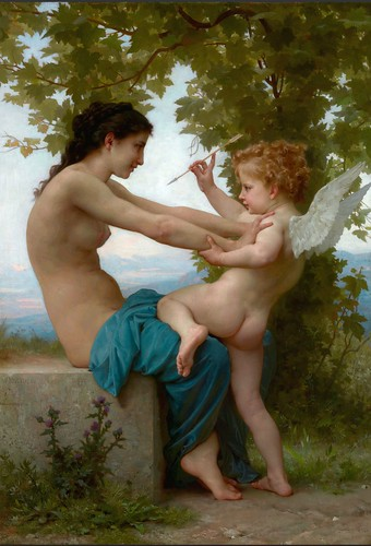 William Bouguereau - Young Girl Defending Herself Against Eros [c.1880] by Gandalf's Gallery