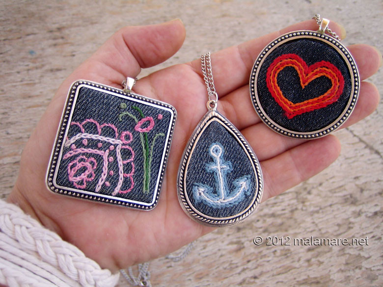 hand embroidered jeans necklaces fabric