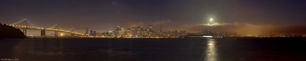 August Moon Set over San Francisco