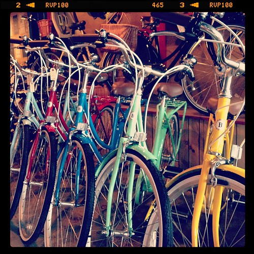 Bobbin Bicycles lined up at Flying Pigeon LA bike shop