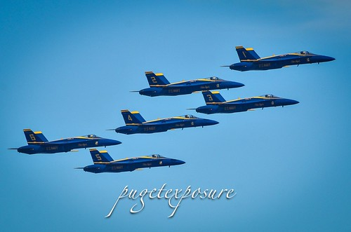 Blue Angels arriving at center point for going top