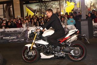 Jeremy Renner arrives by motorbike at the Sydney