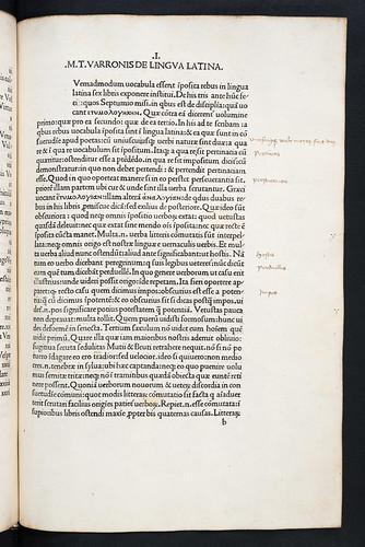 Marginal annotations in Varro, Marcus Terentius: De lingua latina