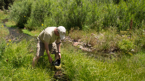 Phil gathers water from Agua Fria stream