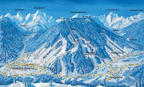 Kranjska Gora - mapa sjezdovek