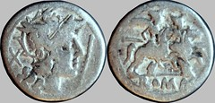 RRC 131/1 Staff and Wing Roma Dioscuri Denarius. Rome 206-200BC. Extremely rare type with and entire wing below the horses, rather than a feather as on RRC 130.