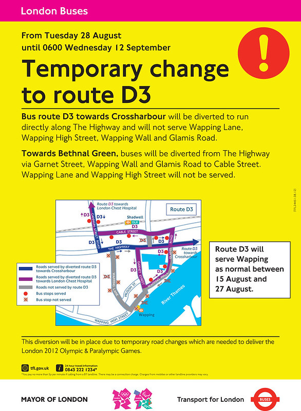 D3 bus route changes during the Paralympic Games