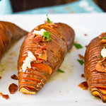 Hasselback Sweet Potatoes with Maple Cinnamon Butter and Bacon