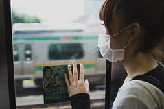 [Free Images] People, Women - Asian, Window, Surgical Mask, Japanese People ID:201211111400