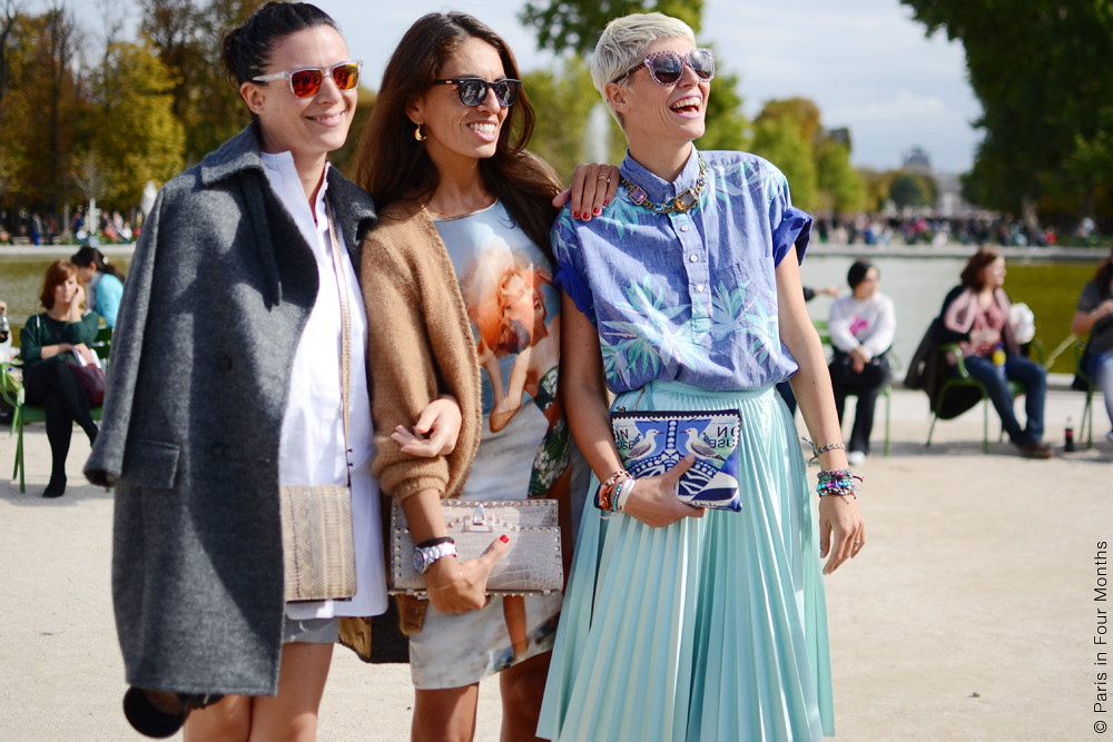 Garance Doré, Viviana Volpicella and Elisa Nalin at Fashion Week in Paris SS13