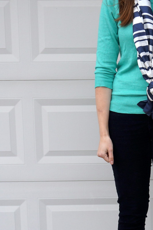 aqua Merona sweater and navy stripe scarf