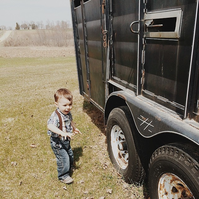 """Trailer!!""  #instaluther #toddler #countryboy #farmerboy"