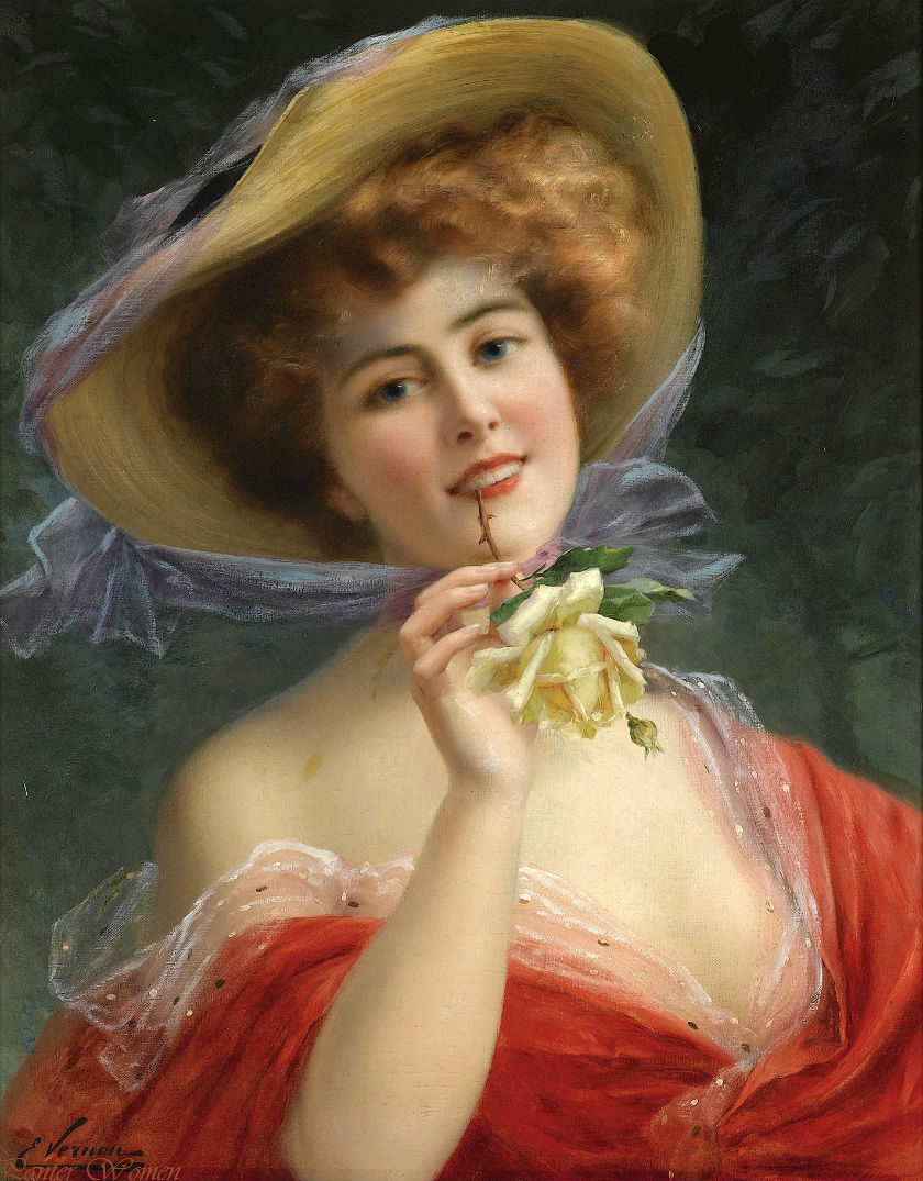 Young Girl with a Rose by Emile Vernon, Date unknown