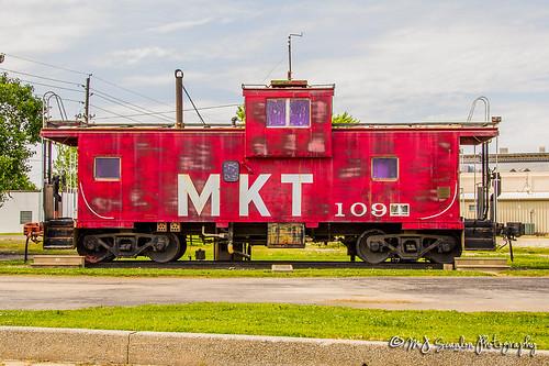 rail railroad train caboose track transportation rear back end katy fallen flag scanlon