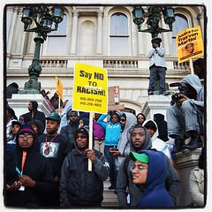 On the steps at #trayvon protest at #baltimore city hall
