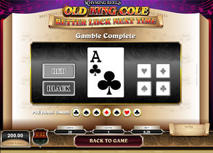 Rhyming Reels Old King Cole Gamble Feature Game