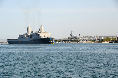 Pre-Commissioning Unit (PCU) San Diego (LPD 22) passes through the San Diego harbor.