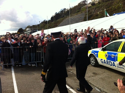 President Higgins waves to the Cobh crowds. by despod
