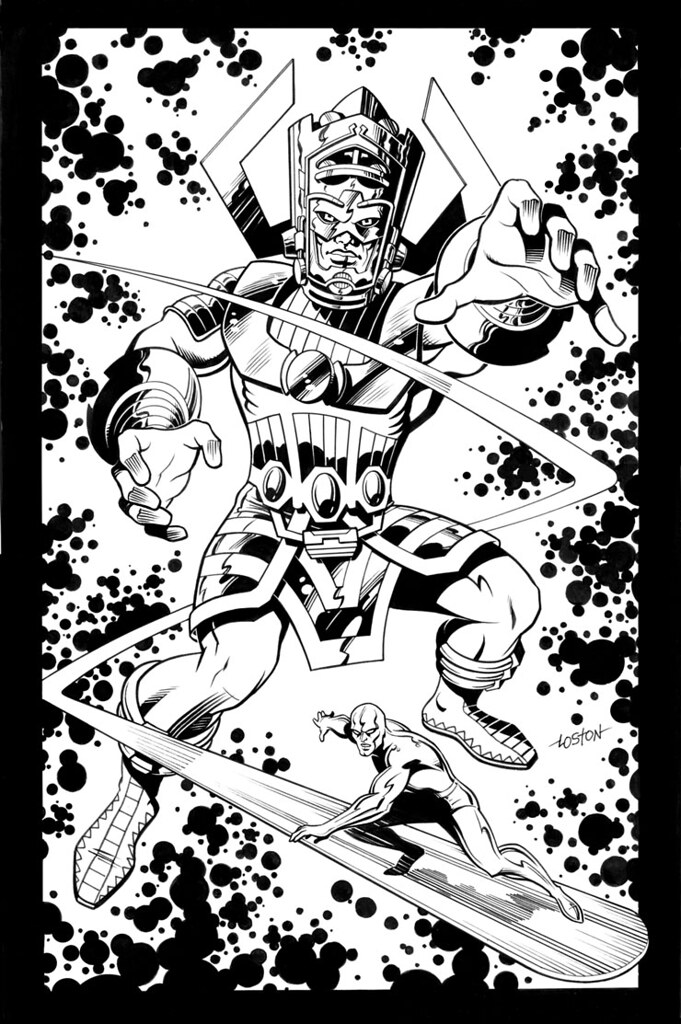 Galactus and the Silver Surfer by Loston Wallace 2002