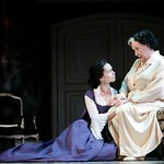 La Presidente de Tourvel (Yvonne Woods) confesses a secret to Madame de Rosemonde (Alice Duffy)  in the Huntington Theatre Company's production of