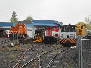 A flock of locomotives at Portland Traction's McBrod Ave shops