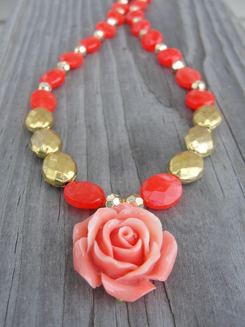Carved Coral Rose Pendant