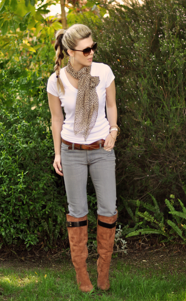 gray jeans and brown boots  with  leopard scarf