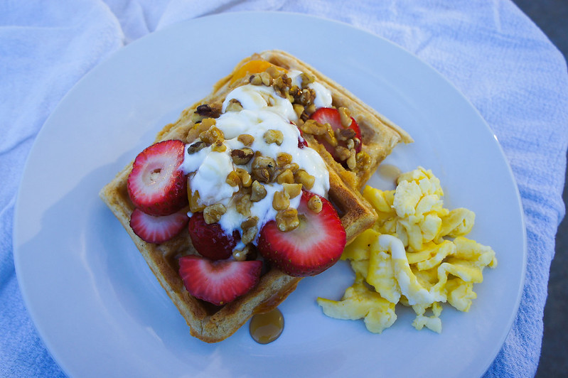 Maple Walnut Strawberry Waffles