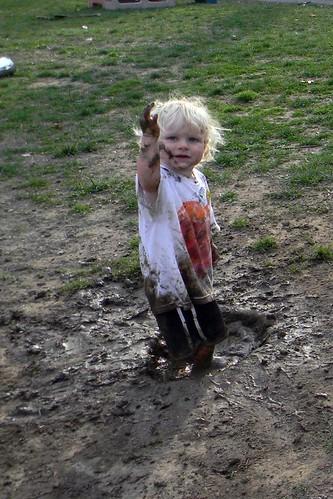 splashing in the mud pit