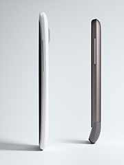 Side views of the HTC One X and V.