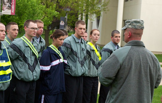 U Kokomo ROTC cadets Brent Woodruff, left; Lee Beachy, Aaron Bird, Hannah Bline, Kyle Miller, Jordan Lee, Sarah McMahon and Joshua Thorp prepare for physical training on campus Thursday, April 5.