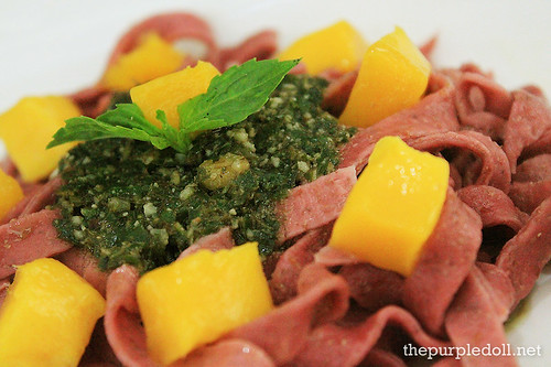 Freshly-Made Beetroot Fettuccine P128 with Mango and Pesto P148