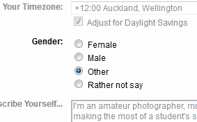 Flickr's gender dialog