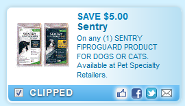 Sentry Fiproguard Product For Dogs Or Cats. Available At Pet Specialty Retailers.  Coupon