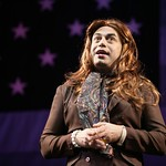 Herbert Siguenza as Adelita, a San Franciscan transgender sex therapist who's more than happy to talk about her upcoming surgery, in the Huntington Theatre Company's production of